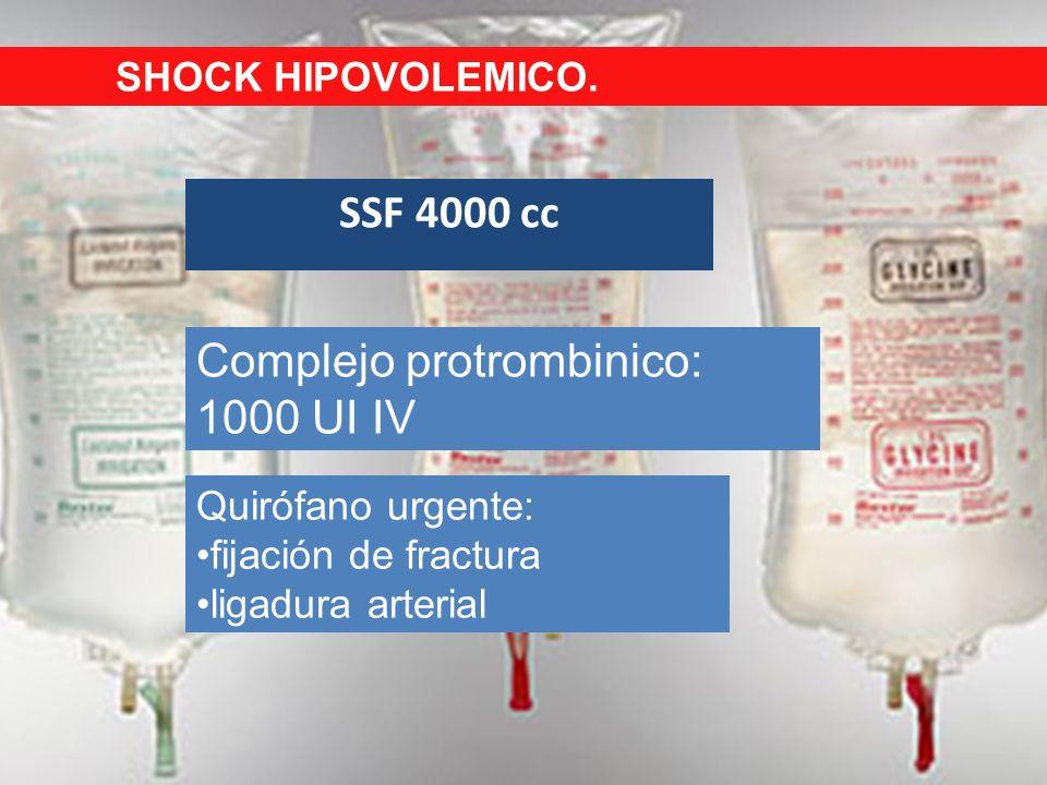 Complejo protrombinico: 1000 UI IV