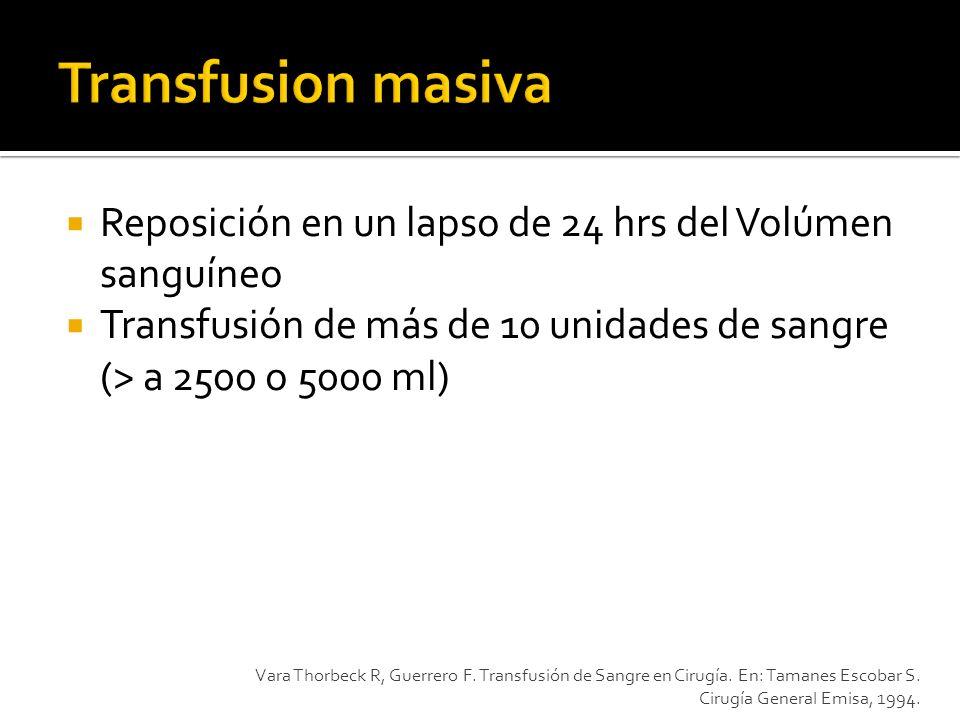 Transfusion masiva Reposición en un lapso de 24 hrs del Volúmen sanguíneo. Transfusión de más de 10 unidades de sangre (> a 2500 o 5000 ml)