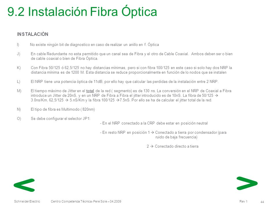 9.2 Instalación Fibra Óptica