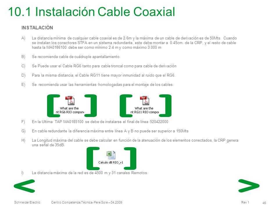 10.1 Instalación Cable Coaxial
