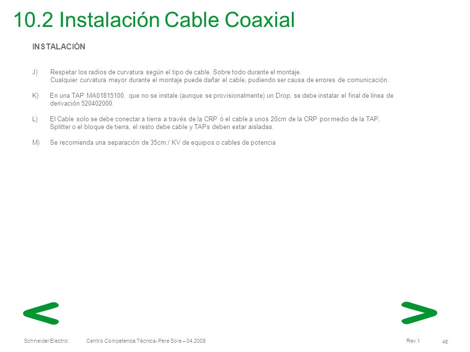 10.2 Instalación Cable Coaxial