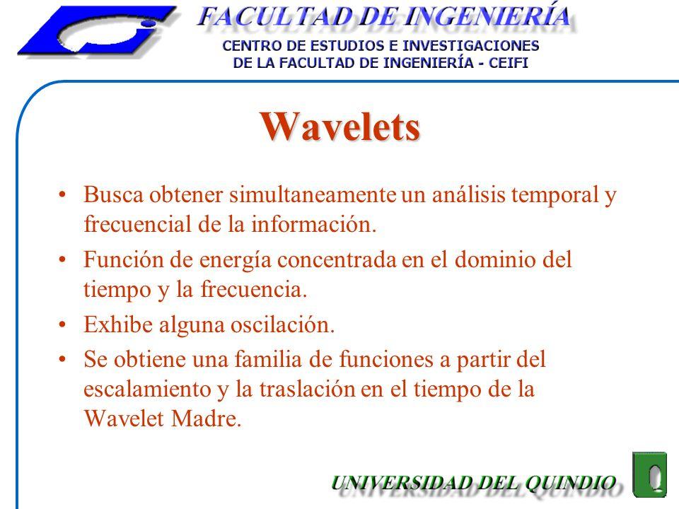 Wavelets Busca obtener simultaneamente un análisis temporal y frecuencial de la información.