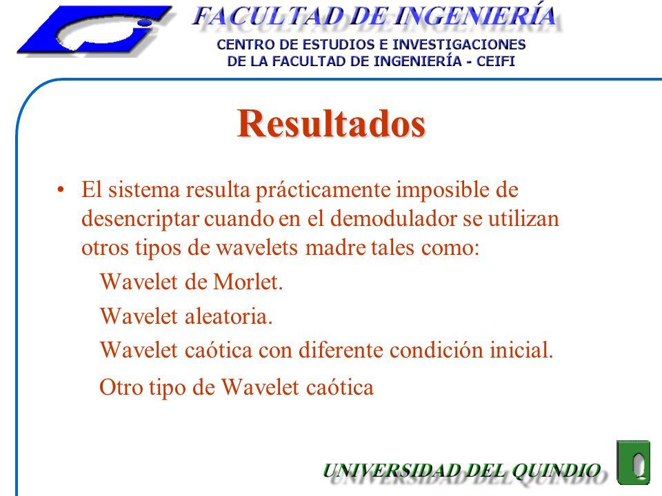 Resultados El sistema resulta prácticamente imposible de desencriptar cuando en el demodulador se utilizan otros tipos de wavelets madre tales como: