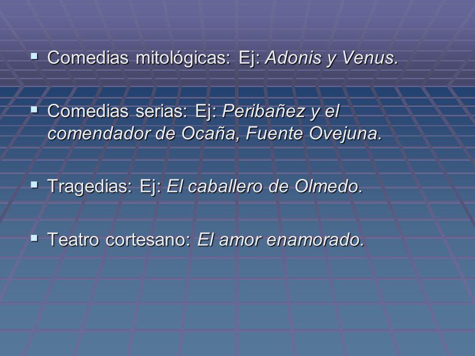 Comedias mitológicas: Ej: Adonis y Venus.