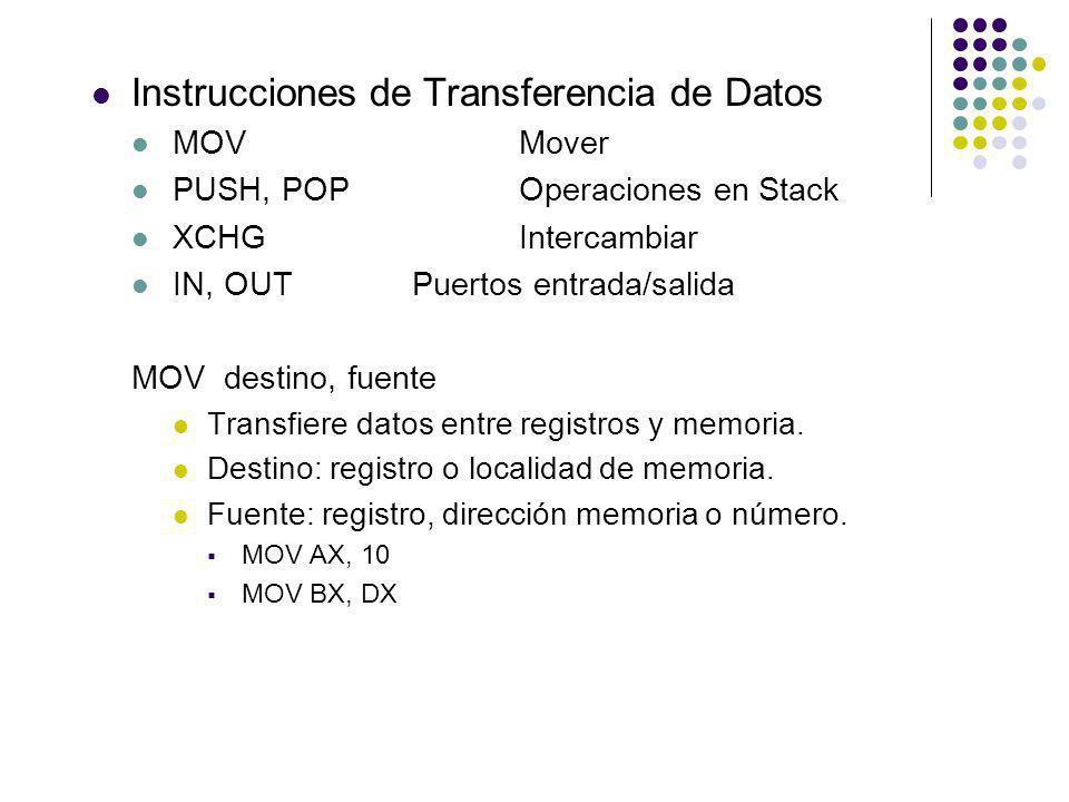 Instrucciones de Transferencia de Datos