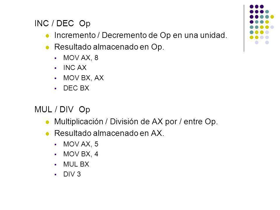 INC / DEC Op MUL / DIV Op Incremento / Decremento de Op en una unidad.