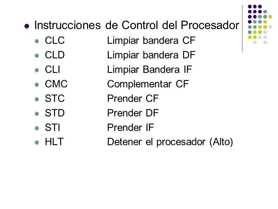 Instrucciones de Control del Procesador