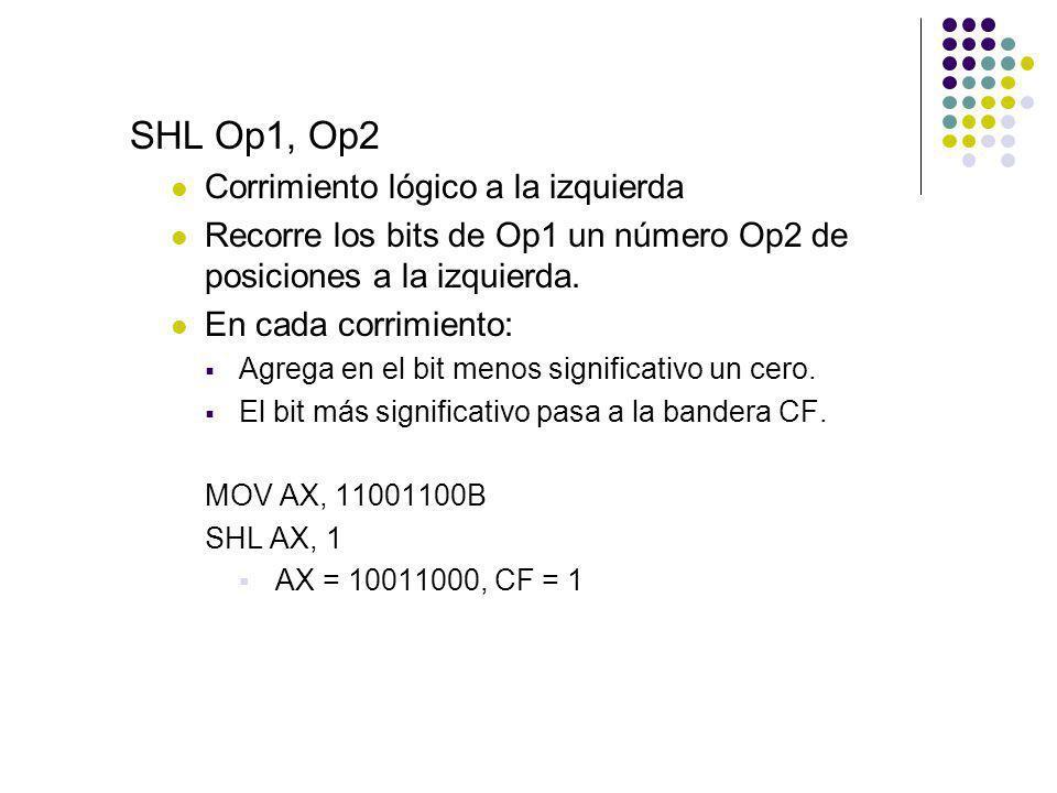 SHL Op1, Op2 Corrimiento lógico a la izquierda