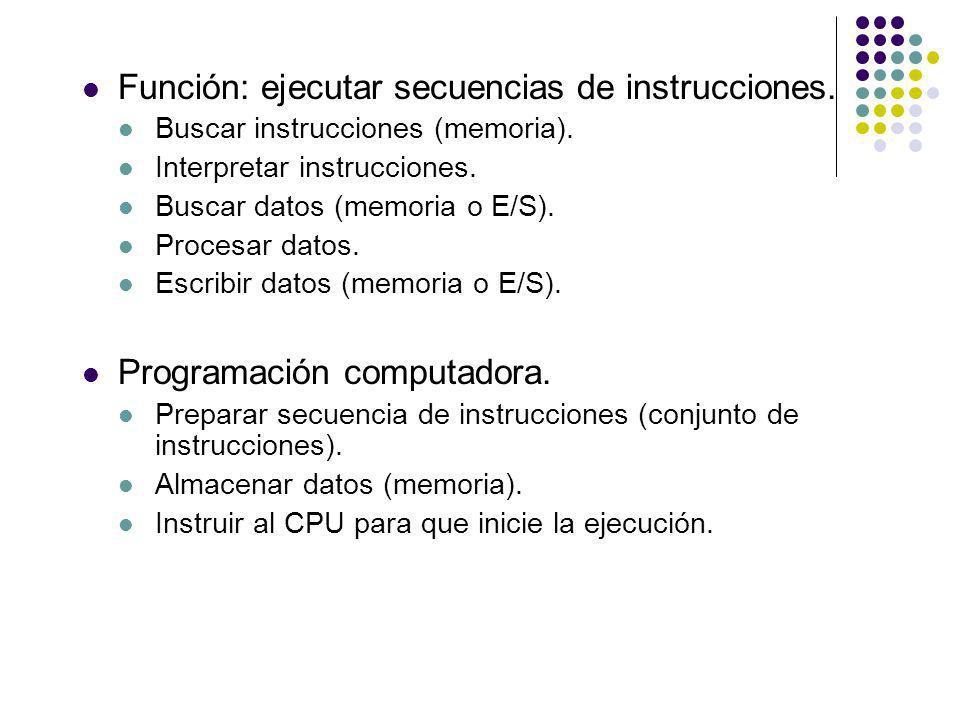 Función: ejecutar secuencias de instrucciones.