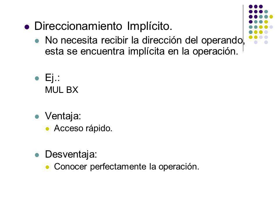 Direccionamiento Implícito.