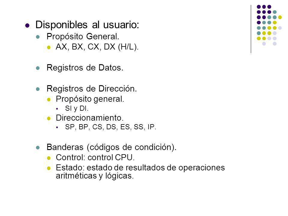 Disponibles al usuario: