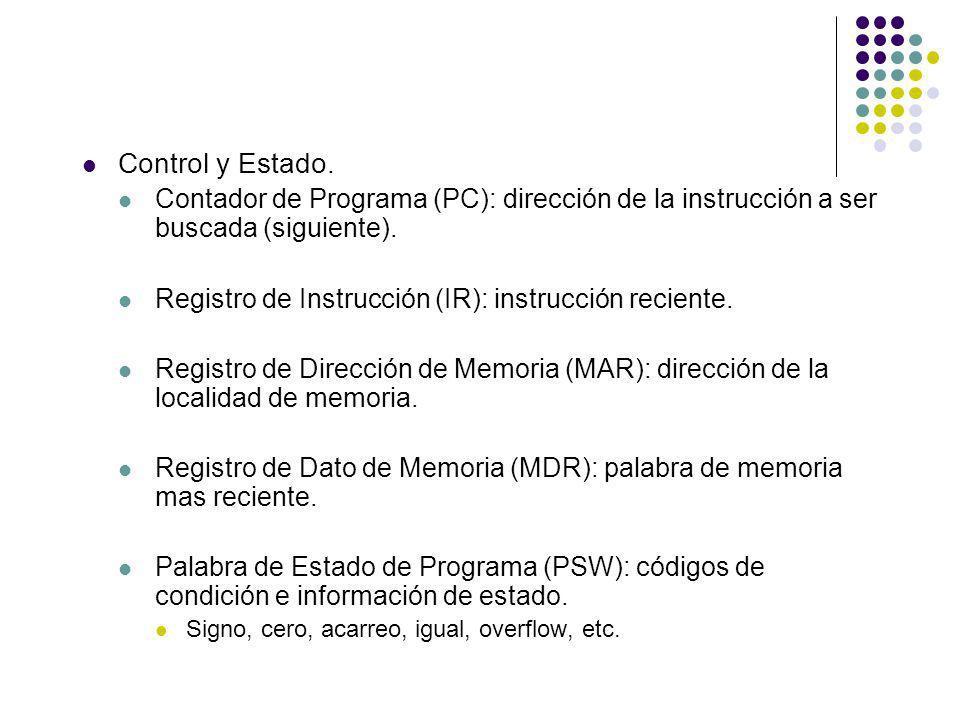 Control y Estado. Contador de Programa (PC): dirección de la instrucción a ser buscada (siguiente).