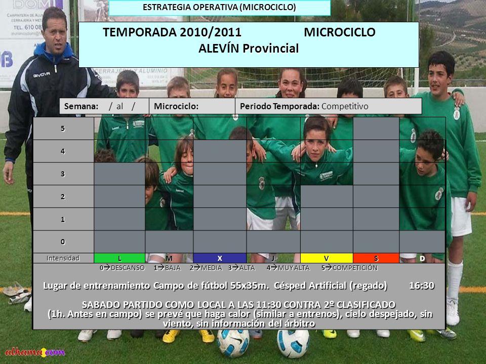 TEMPORADA 2010/2011 MICROCICLO ALEVÍN Provincial