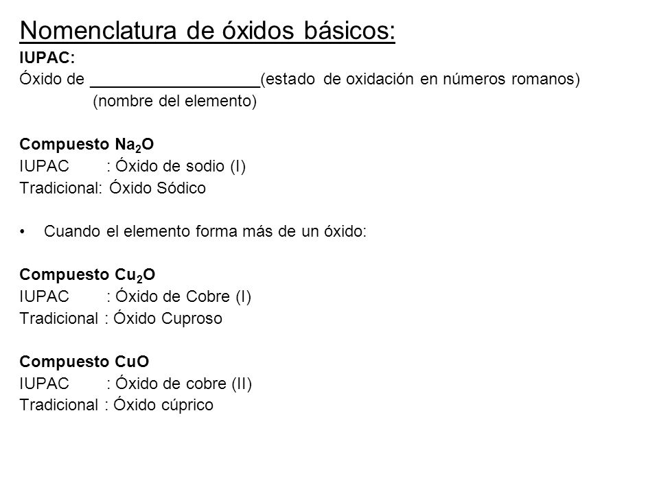 Nomenclatura de óxidos básicos: