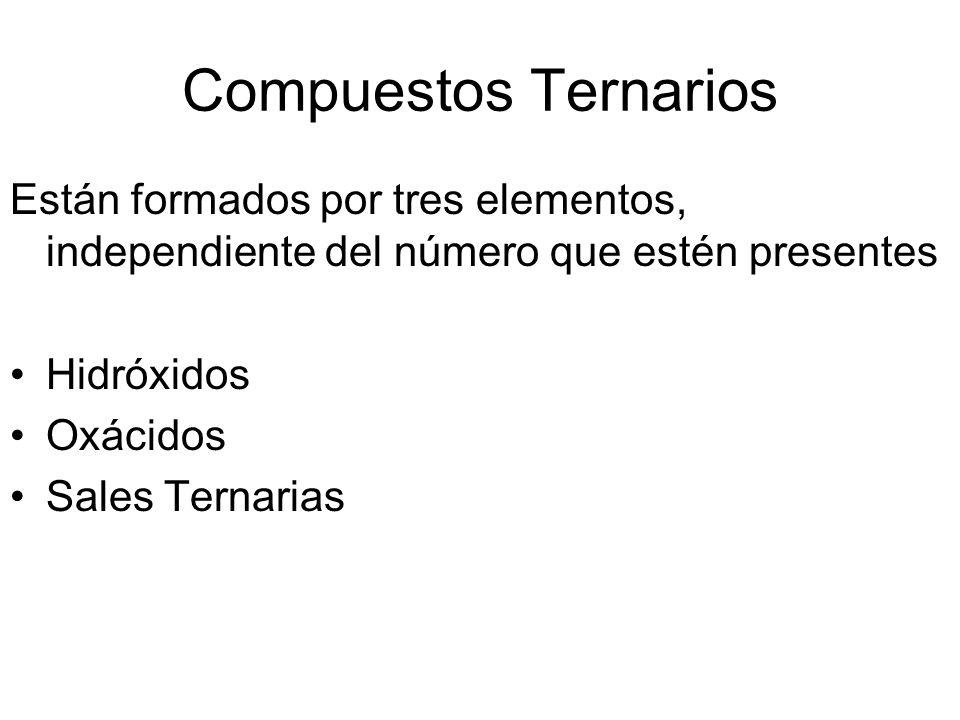 Compuestos TernariosEstán formados por tres elementos, independiente del número que estén presentes.