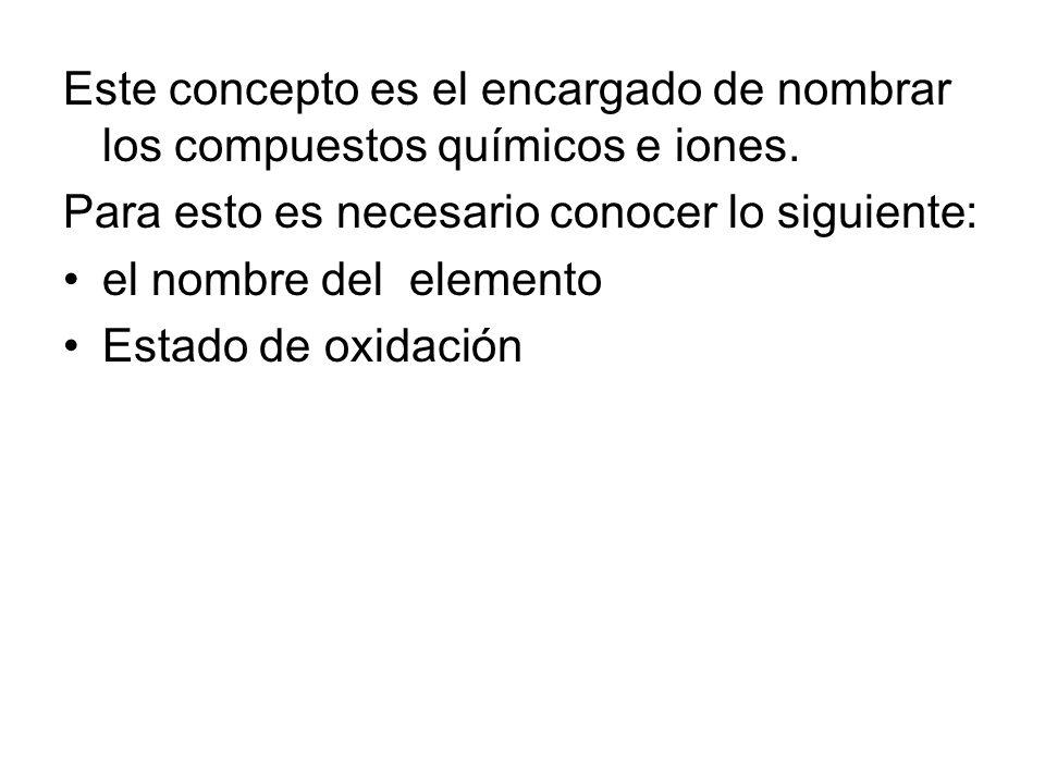 Este concepto es el encargado de nombrar los compuestos químicos e iones.