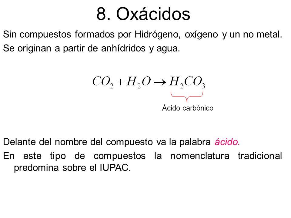 8. Oxácidos Sin compuestos formados por Hidrógeno, oxígeno y un no metal. Se originan a partir de anhídridos y agua.