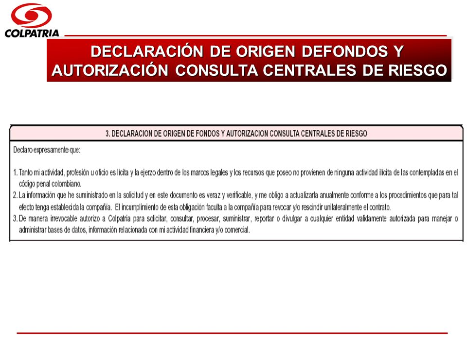 DECLARACIÓN DE ORIGEN DEFONDOS Y