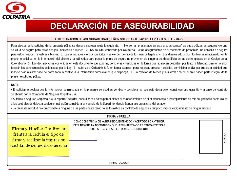 DECLARACIÓN DE ASEGURABILIDAD