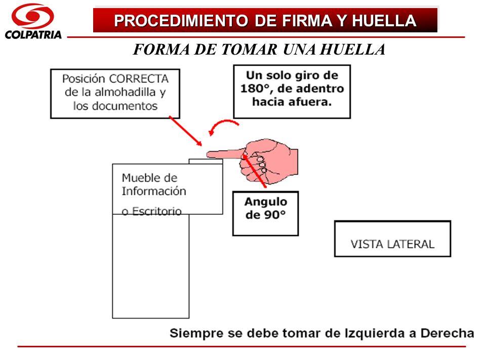 PROCEDIMIENTO DE FIRMA Y HUELLA FORMA DE TOMAR UNA HUELLA