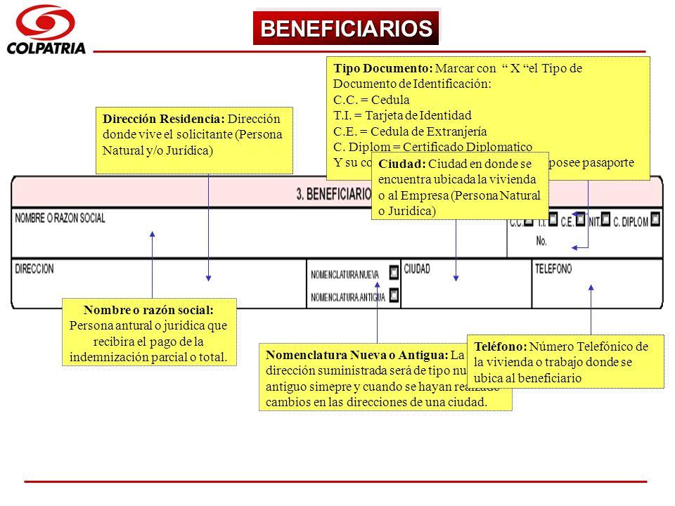 BENEFICIARIOS Tipo Documento: Marcar con X el Tipo de Documento de Identificación: C.C. = Cedula.