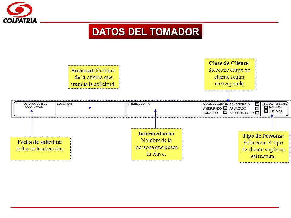 DATOS DEL TOMADORClase de Cliente: Sleccone eltipo de cliente según corresponda. Sucursal: Nombre de la oficina que tramita la solicitud.