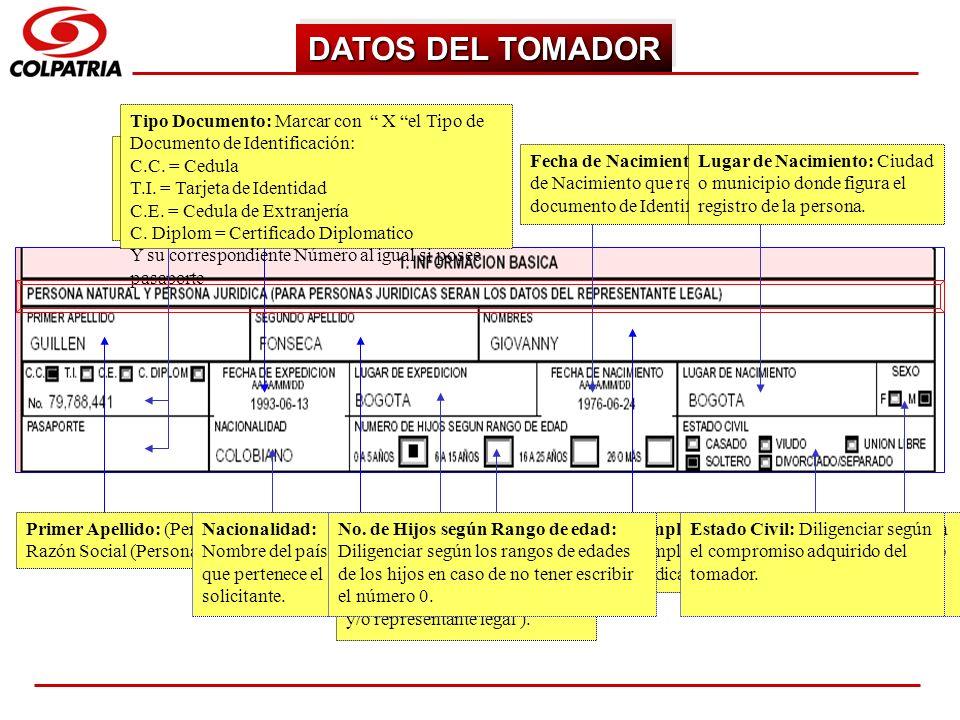 DATOS DEL TOMADORTipo Documento: Marcar con X el Tipo de Documento de Identificación: C.C. = Cedula.