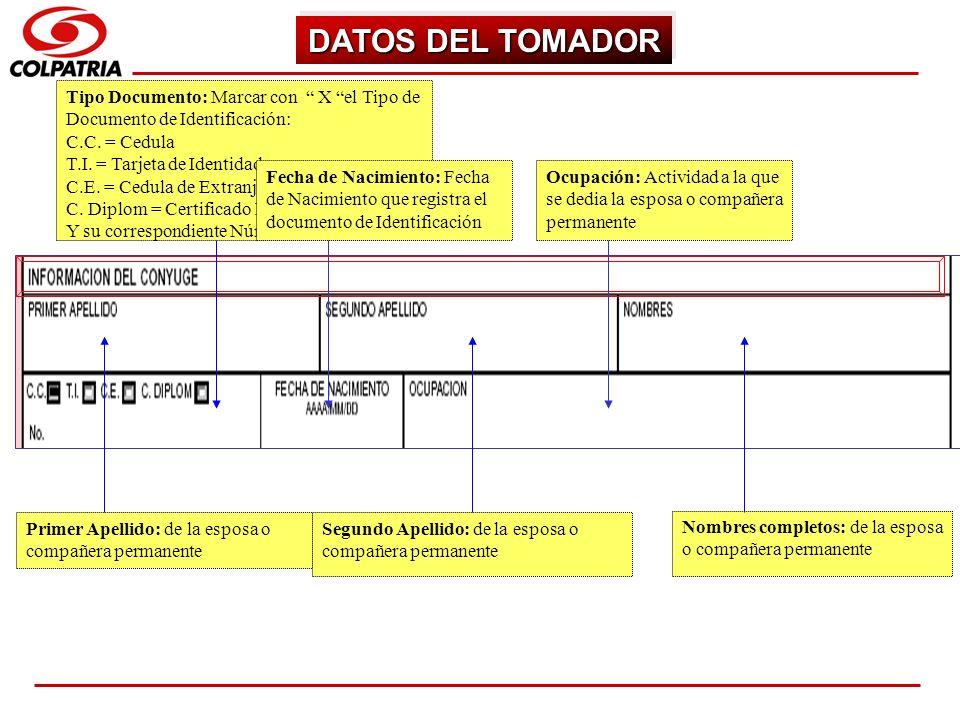 DATOS DEL TOMADOR Tipo Documento: Marcar con X el Tipo de Documento de Identificación: C.C. = Cedula.