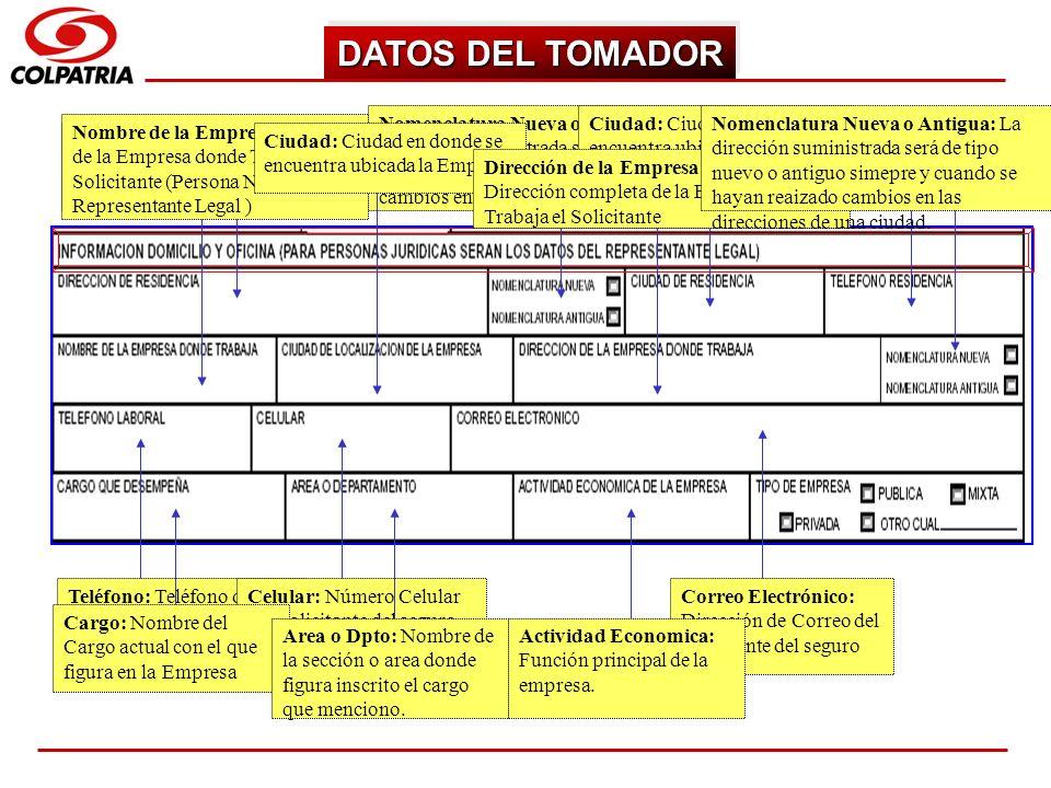 DATOS DEL TOMADOR