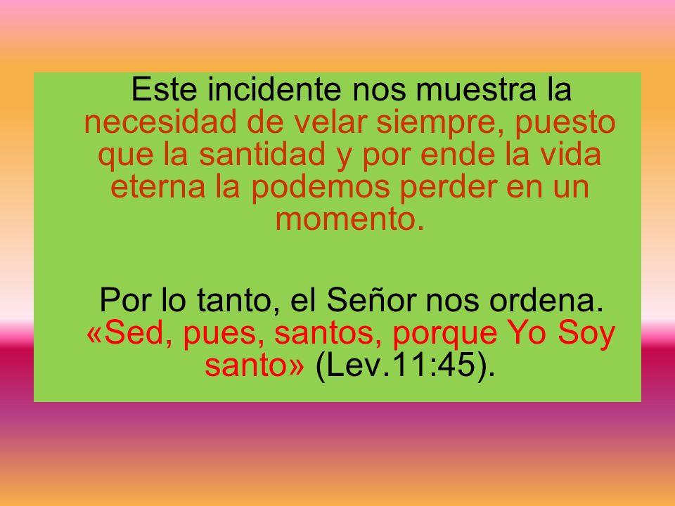Este incidente nos muestra la necesidad de velar siempre, puesto que la santidad y por ende la vida eterna la podemos perder en un momento.