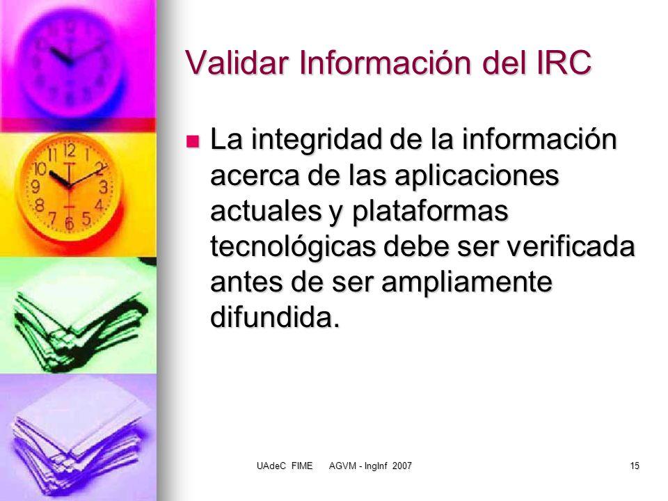 Validar Información del IRC
