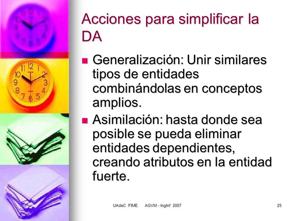 Acciones para simplificar la DA
