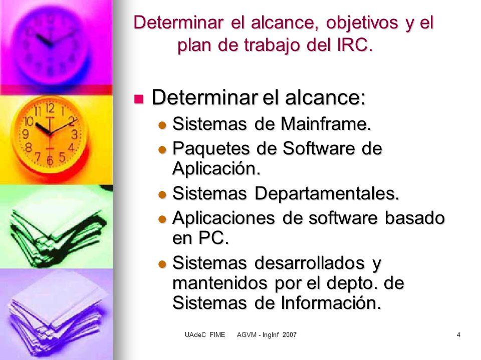 Determinar el alcance, objetivos y el plan de trabajo del IRC.