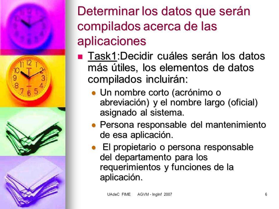 Determinar los datos que serán compilados acerca de las aplicaciones