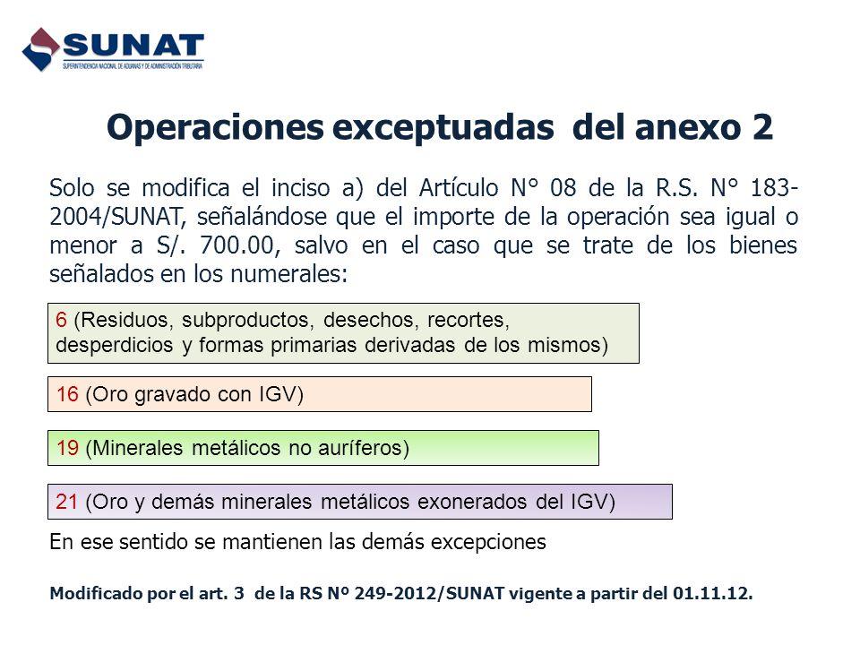 Operaciones exceptuadas del anexo 2