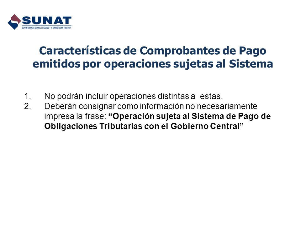 Características de Comprobantes de Pago emitidos por operaciones sujetas al Sistema