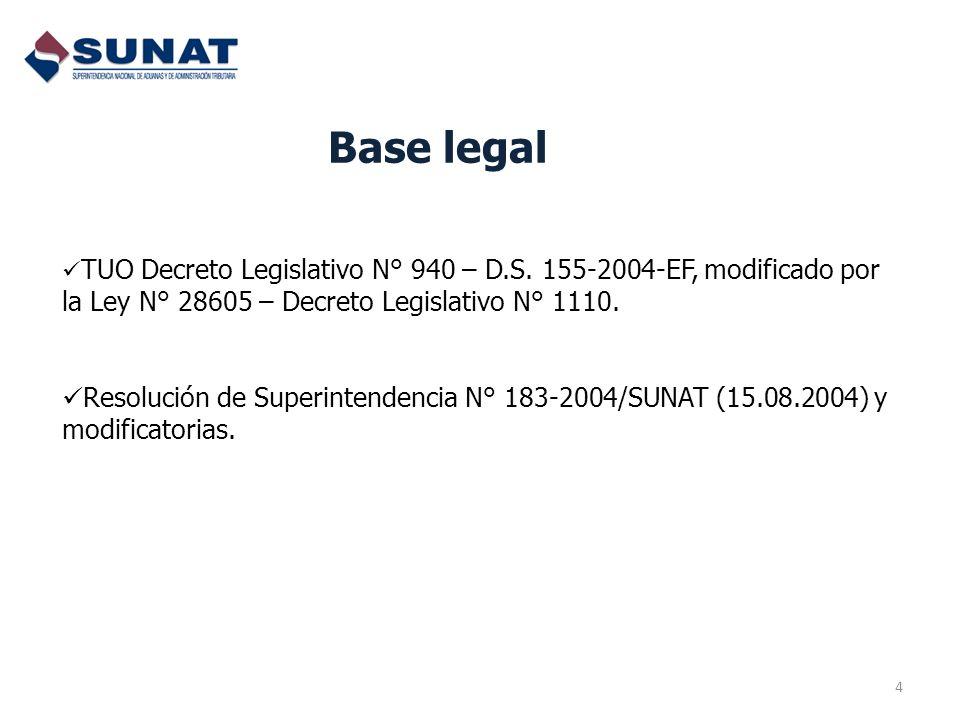 Base legal TUO Decreto Legislativo N° 940 – D.S. 155-2004-EF, modificado por la Ley N° 28605 – Decreto Legislativo N° 1110.