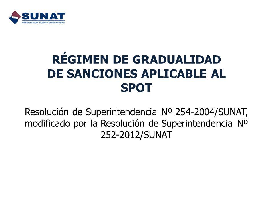 RÉGIMEN DE GRADUALIDAD DE SANCIONES APLICABLE AL SPOT Resolución de Superintendencia Nº 254-2004/SUNAT, modificado por la Resolución de Superintendencia Nº 252-2012/SUNAT