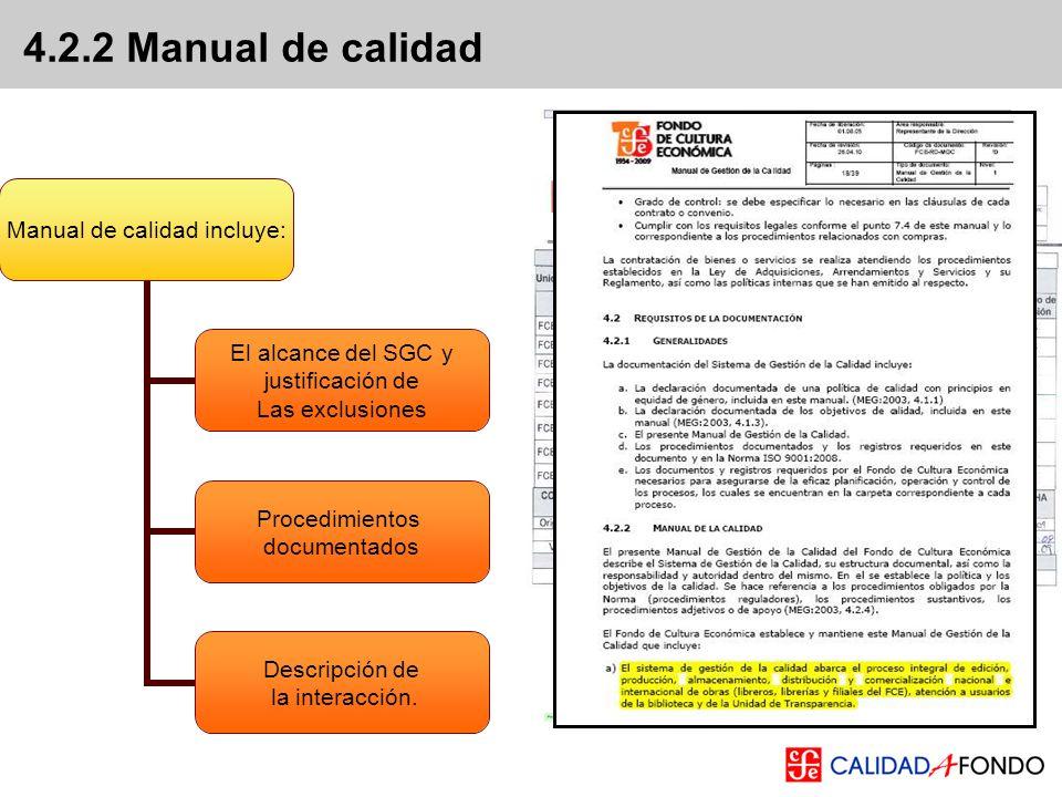 4.2.2 Manual de calidad Alcance del SGC página 11