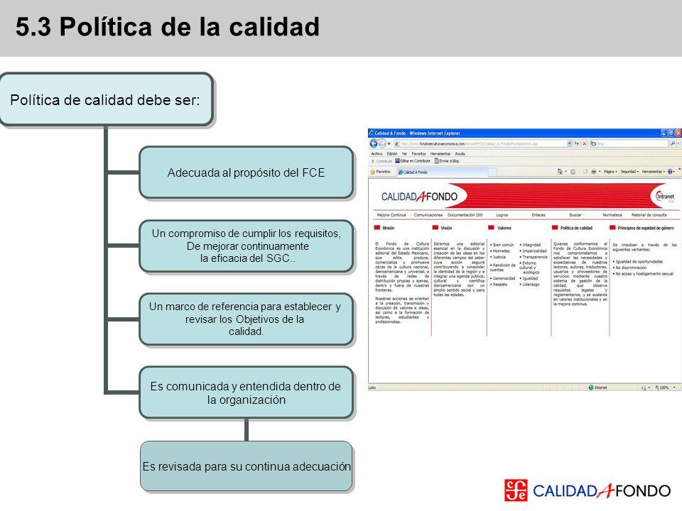 5.3 Política de la calidad Manual de Gestión de Calidad, Portal