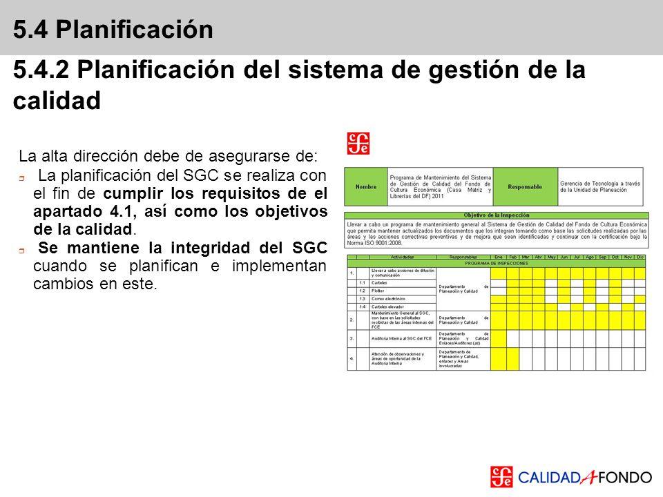 5.4 Planificación 5.4.2 Planificación del sistema de gestión de la calidad