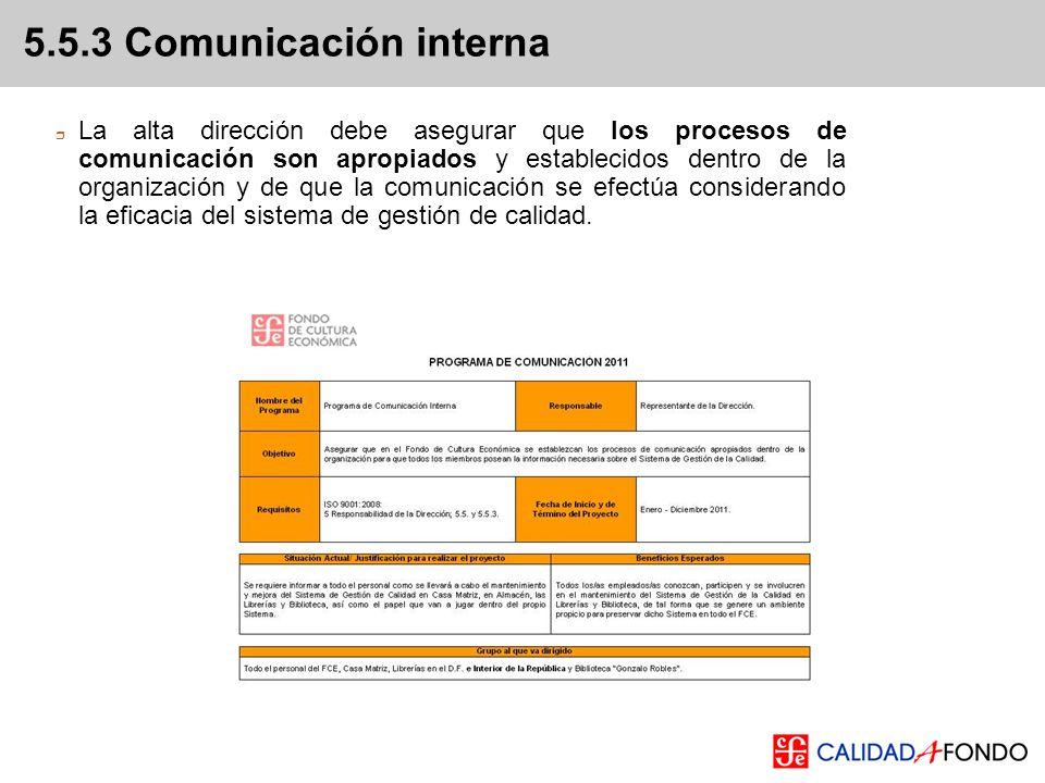 5.5.3 Comunicación interna