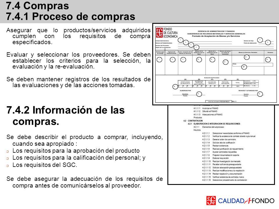 7.4.2 Información de las compras.