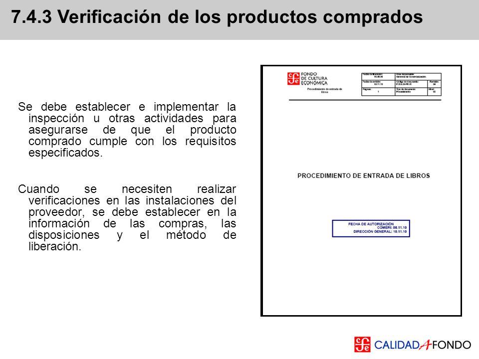 7.4.3 Verificación de los productos comprados