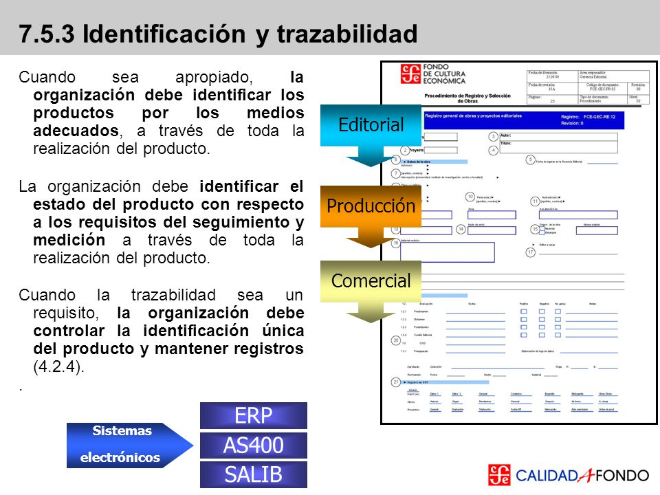7.5.3 Identificación y trazabilidad