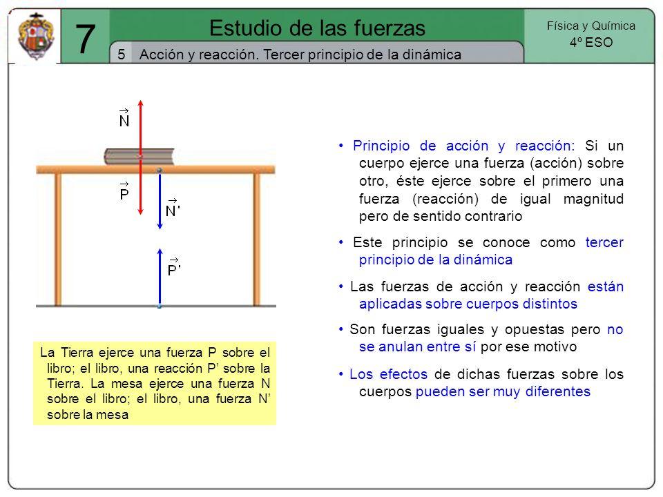 7 Estudio de las fuerzas. Física y Química. 4º ESO. 5. Acción y reacción. Tercer principio de la dinámica.