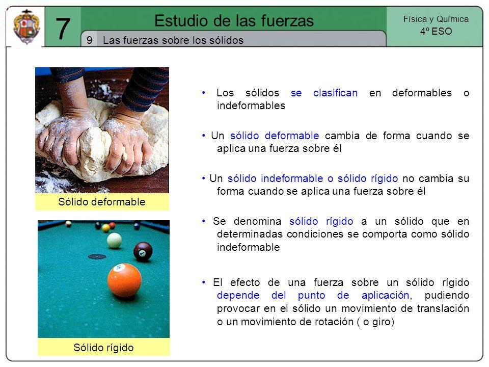 7 Estudio de las fuerzas 9 Las fuerzas sobre los sólidos