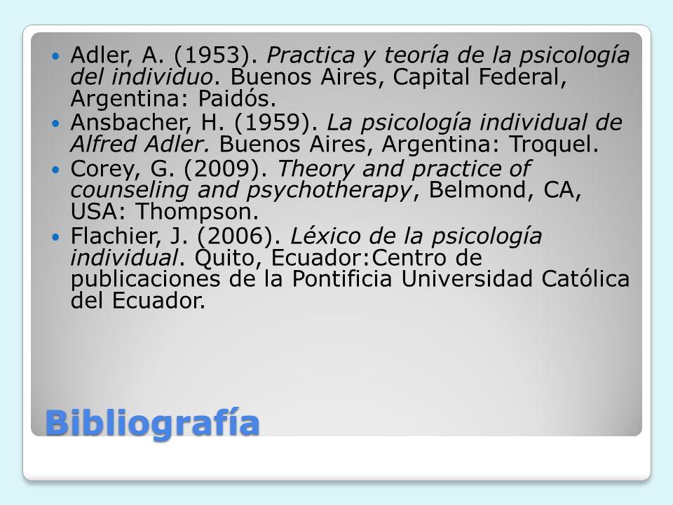 Adler, A. (1953). Practica y teoría de la psicología del individuo