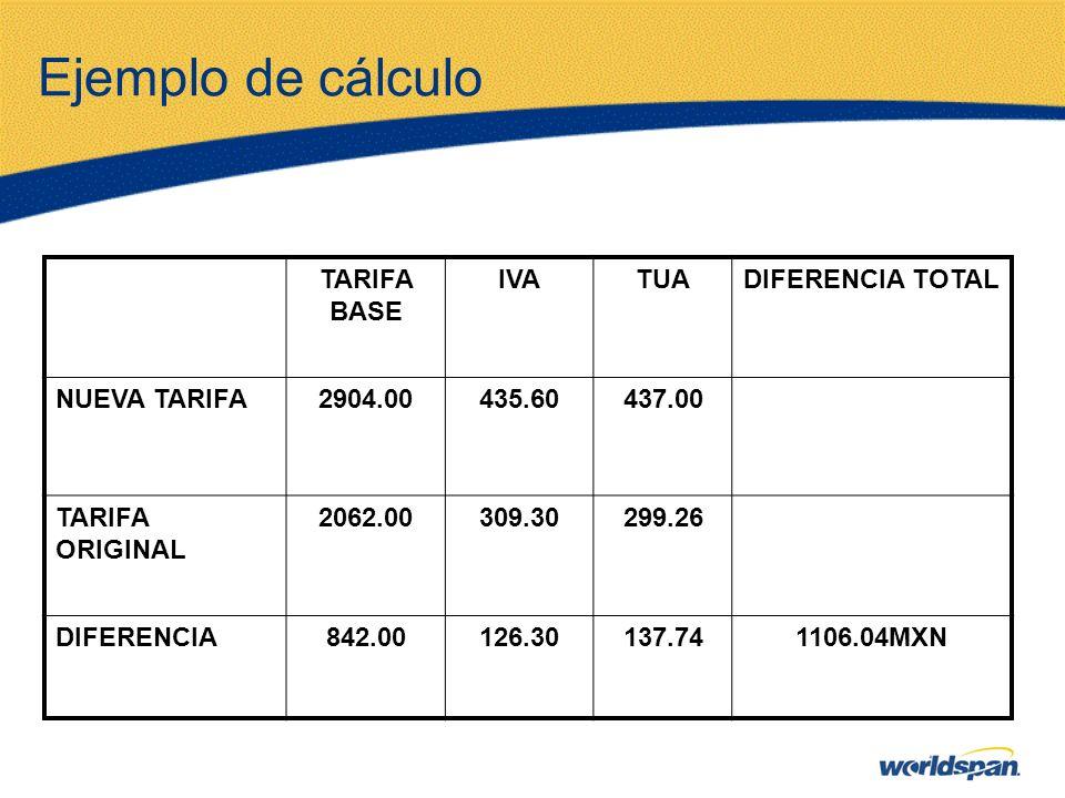 Ejemplo de cálculo TARIFA BASE IVA TUA DIFERENCIA TOTAL NUEVA TARIFA