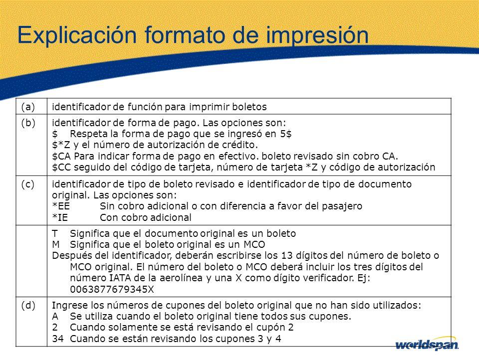 Explicación formato de impresión